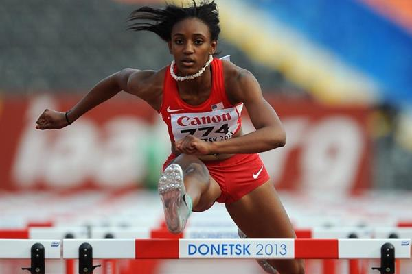 Dior Hall in the girls 100m Hurdles at the IAAF World Youth Championships 2013 (Getty Images)