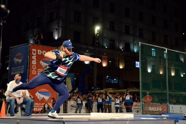 Ryan Crouser in action in Belgrade (Organisers)