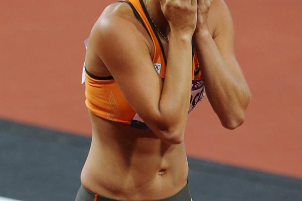 Nadine Broersen looks on after the heptathlon 200m at the London 2012 Olympics (Getty Images)
