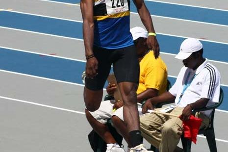 Lenyn Leonce of St Lucia long jumping to gold - 2009 CARIFTA Games (Jed Charles)