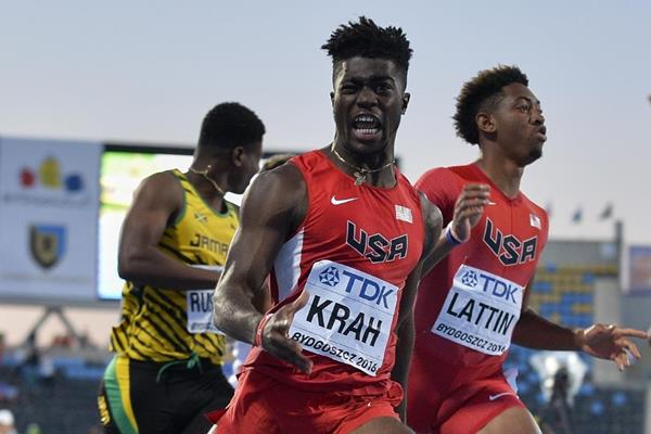 Marcus Krah wins the 110m hurdles at the IAAF World U20 Championships Bydgoszcz 2016 (Getty Images)