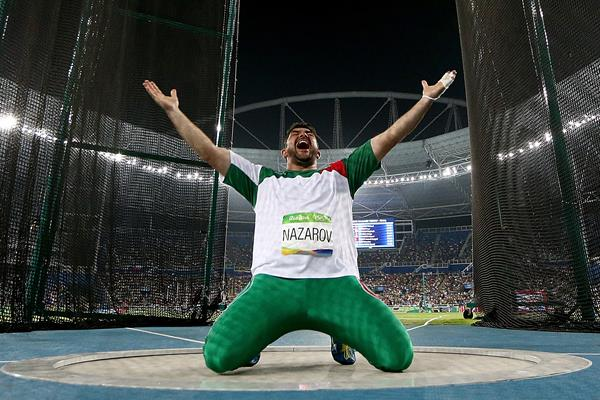 Dilshod Nazarov after winning the hammer at the Rio 2016 Olympic Games (Getty Images)
