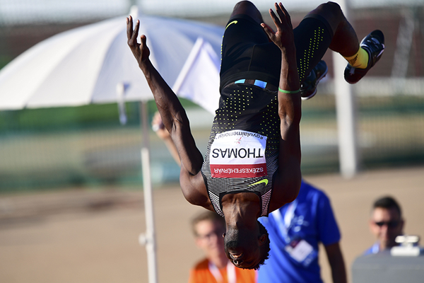 Donald Thomas celebrates his high jump victory in Szekesfehervar (AFP / Getty Images)