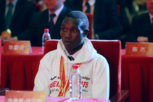 World cross-country champion Geoffrey Kamworor at the launch of ticket sales for the IAAF World Championships, Beijing 2015 (Beijing 2015 LOC)