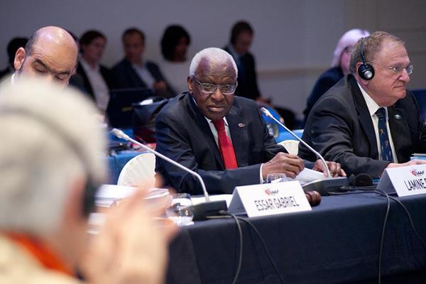 IAAF President Lamine Diack during the IAAF Council meeting, 18 November 2014 (Jon Mulkeen / IAAF)