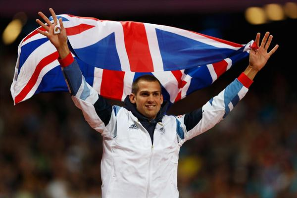 Robert Grabarz of Great Britain celebrates winning bronze in the Men's High Jump Final on Day 11 of the London 2012 Olympic Games at Olympic Stadium on August 7, 2012 (Getty Images)