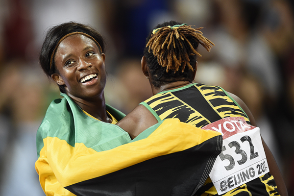 Danielle and Shermaine Williams after the 100m hurdles final at the IAAF World Championships, Beijing 2015 (AFP / Getty Images)