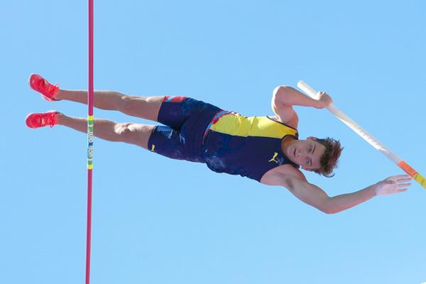 Armand Duplantis, winner of the pole vault at the IAAF Diamond League meeting in Stanford (Victah Sailer)