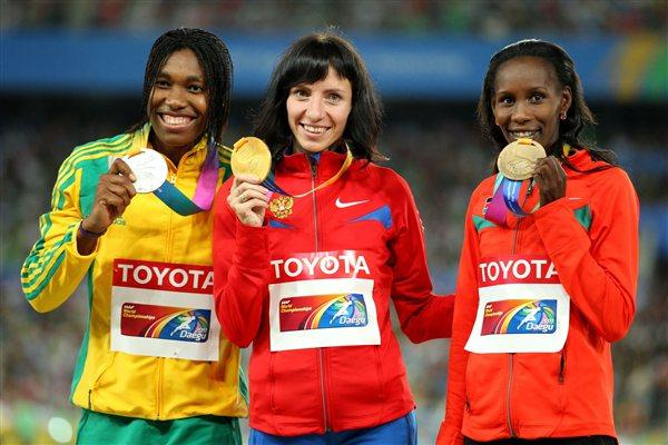 Mariya Savinova of Russia poses with her gold medal, Caster Semenya of South Africa the silver and Janeth Jepkosgei Busienei of Kenya the bronze during the medal ceremony for the women's 800 metres final (Getty Images)
