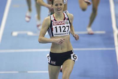 Nicola Sanders after her 50.02 victory in Birmingham (Getty Images)