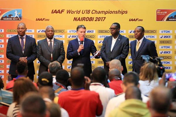 IAAF President Sebastian Coe at the press conference ahead of the IAAF World U18 Championships Nairobi 2017 (Getty Images)