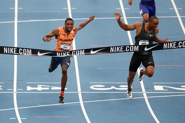 Noah Lyles (l) edges Ronnie Baker to the take the US 100m title (Getty Images)