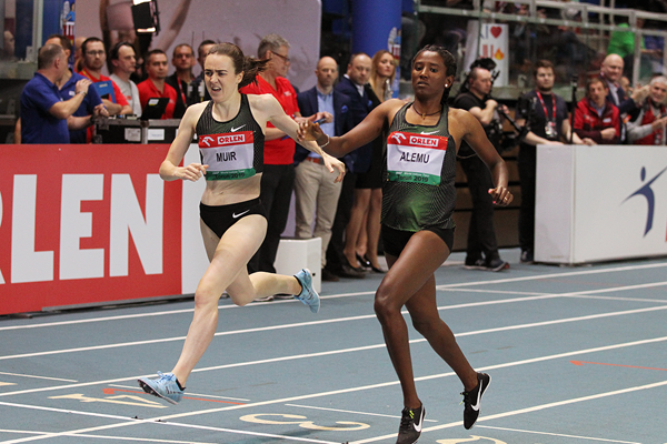 Habitam Alemu wins a close 800m at the IAAF World Indoor Tour meeting in Torun (Jean-Pierre Durand)