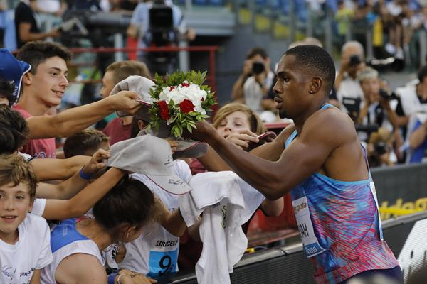 Chijindu Ujah after his 100m win at the IAAF Diamond League meeting in Rome (Philippe Fitte)