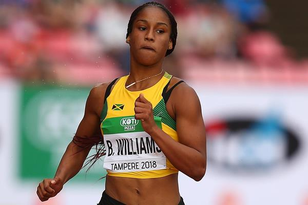 Jamaican sprinter Briana Williams at the IAAF World U20 Championships Tampere 2018 (Getty Images)