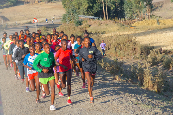 Tirunesh Dibaba (left-hand side, wearing black jacket) in an elite training group outside Sendafa (Paul Gains)