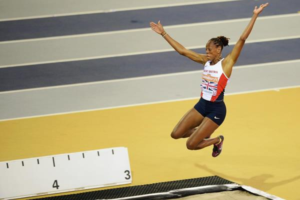 Britain's Shara Proctor on her way to winning the long jump (Getty Images)