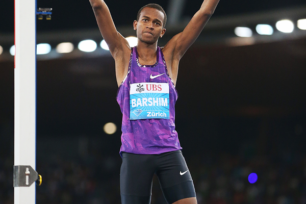 High jump winner Mutaz Essa Barshim at the IAAF Diamond League meeting in Zurich (Jean-Pierre Durand)