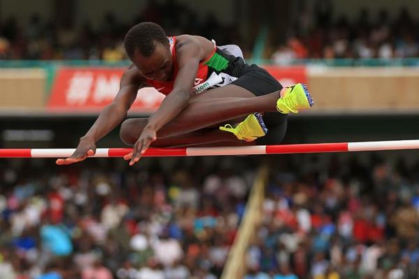 Faith Kipsang in the high jump at the IAAF World U18 Championships Nairobi 2017