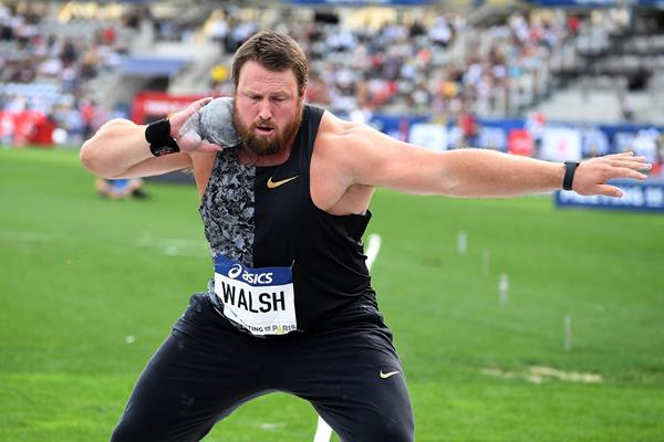 Shot put winner Tom Walsh at the IAAF Diamond League meeting in Paris (Gladys Chai von der Laage)