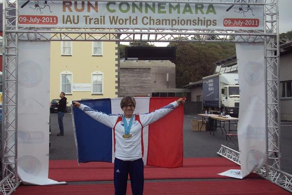 Maud Gobert after winning the 2011 IAU Trail World Championships (IAU)