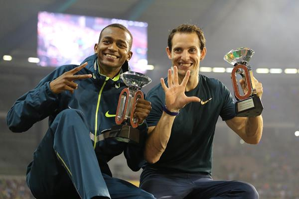 Mutaz Barshim and Renaud Lavillenie with their Diamond Trophies at the 2014 IAAF Diamond League final in Brussels (Gladys von der Laage)