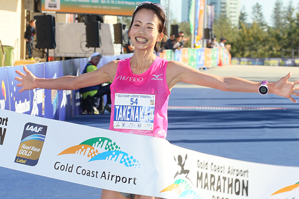 Risa Takenaka wins the Gold Coast Marathon (Organisers)