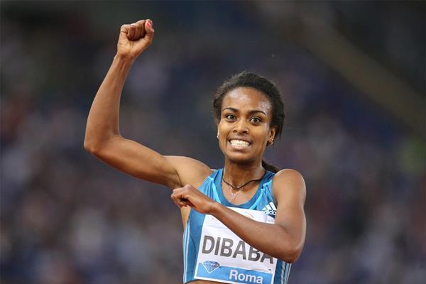 Ethiopia's Genzebe Dibaba celebrates her victory (Gladys Chai von der Laage)