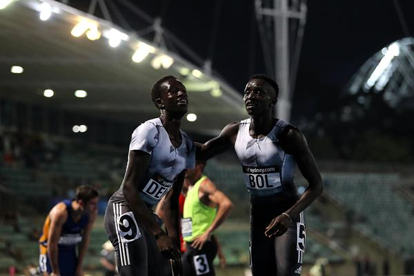 Peter Bol and Joseph Deng after the 800m in Sydney (Getty Images)