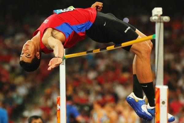 Gonzalo Barroilhet of Chile in action during the decathlon high jump (Getty Images)