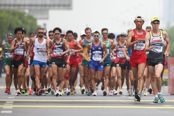 Early stages of the men's 20km race walk at the World Race Walking Team Championships in Taicang (Getty Images)
