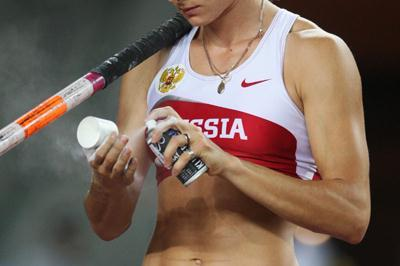 Yelena Isinbayeva of Russia prepares for a jump on her way to winning the Pole Vault Final (Getty Images)