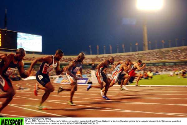Men 100 metres start in Mexico (Mexsports)