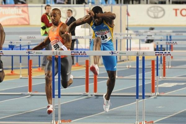 Shamar Sands (c) prevails again in Gent, this time in 7.54 (Nadia Verhoft)