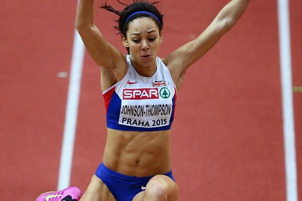 Katarina Johnson-Thompson leaps 6.89m in the pentathlon long jump at the European Indoor Championships (Getty Images)