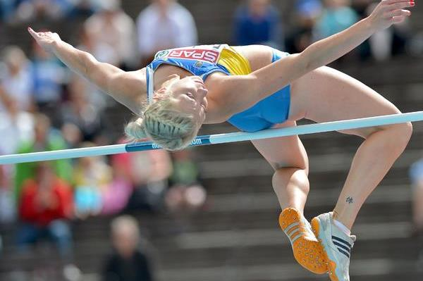 Ukraine's Alina Fodorova in the heptathlon high jump (Getty Images)