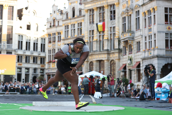 Michelle Carter in the shot put at the IAAF Diamond League meeting in Brussels (Giancarlo Colombo)
