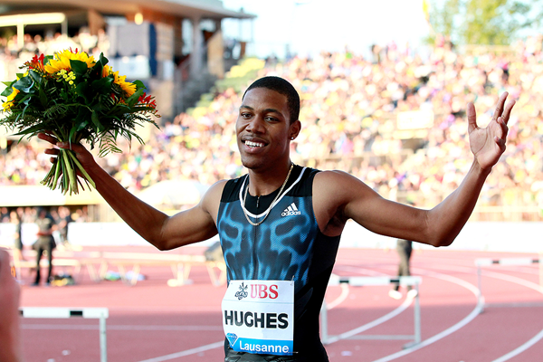 Zharnel Hughes after winning the 200m at the IAAF Diamond League meeting in Lausanne (Victah Sailer)