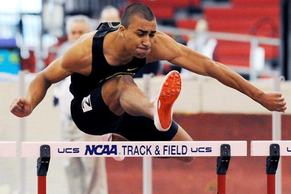 Ashton Eaton on his way to a world indoor heptathlon record at the 2010 NCAA Championships (Randy Miyazaki)