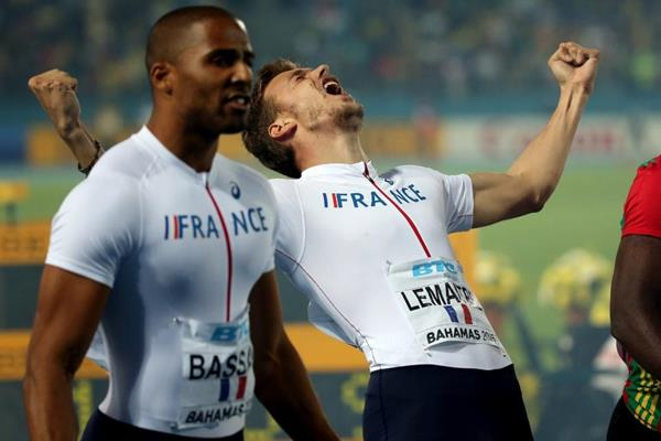 Christophe Lemaitre celebrates France's second-place finish in the 4x200m at the IAAF/BTC World Relays, Bahamas 2015 (Getty Images)