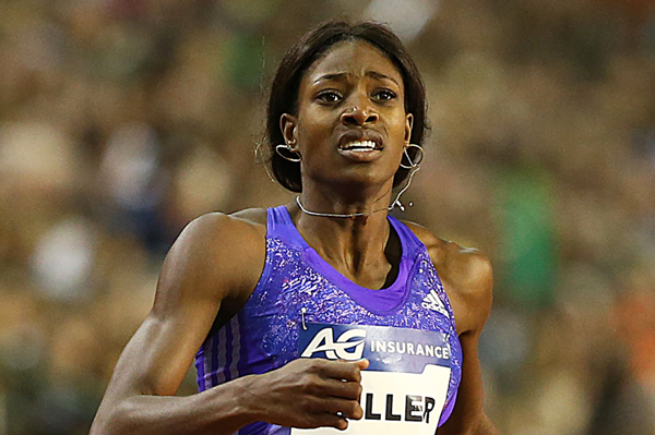 Bahamian sprinter Shaunae Miller on her way to victory (Giancarlo Colombo)