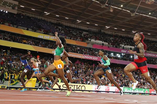 Marie-Josee Ta Lou of Ivory Coast taking the silver medal over 100m at the IAAF World Championships London 2017 (Getty)