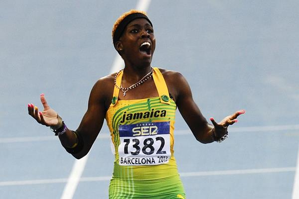 Janieve Russell of Jamaica wins the Women's 400 metres Hurdles Final on the day five of the 14th IAAF World Junior Championships in Barcelona on 14 July 2012 (Getty Images)