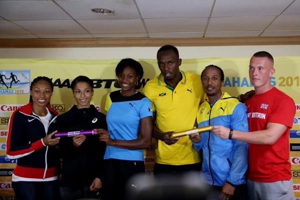 Allyson Felix, Floria Guei, Shaunae Miller, Usain Bolt, Chris Brown and Richard Kilty at the pre-event press conference ahead of the IAAF/BTC World Relays, Bahamas 2015 (Getty Images)