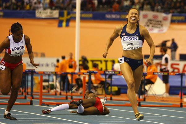 Lolo Jones strides to gold as Josephine Onyia crashes out of the 60m hurdles final (Getty Images)
