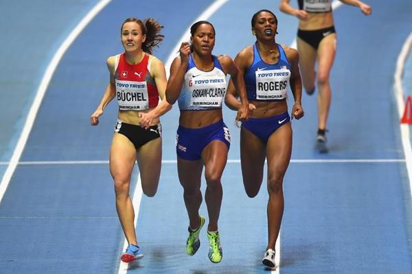 Shelayna Oskan-Clarke in the 800m at the IAAF World Indoor Championships Birmingham 2018 (Getty Images)