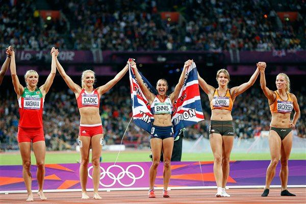 Jessica Ennis of Great Britain (C) celebrates winning gold in the Women's Heptathlon with fellow heptathletes on Day 8 of the London 2012 Olympic Games (Getty Images)