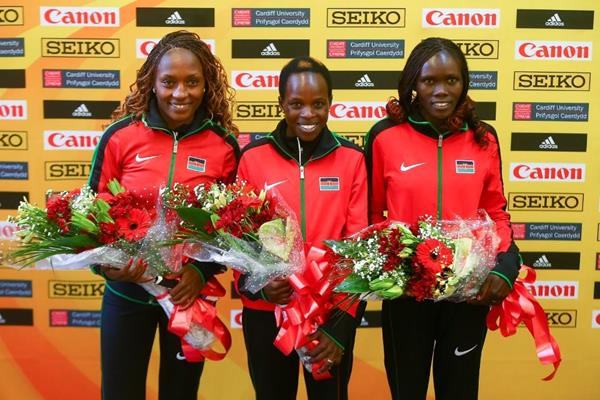 Women's medallists Mary Wacera, Peres Jepchirchir and Cynthia Limo at the IAAF/Cardiff University World Half Marathon Championships Cardiff 2016 (Getty Images)