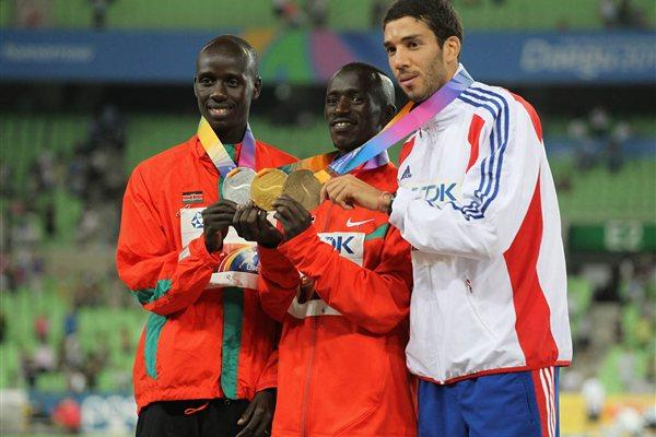 Ezekiel Kemboi of Kenya poses with his gold medal, Brimin Kiprop Kipruto of Kenya the silver and Mahiedine Mekhissi-Benabbad of France the bronze during the medal ceremony for the men's 3000 metre steeplechase  (Getty Images)
