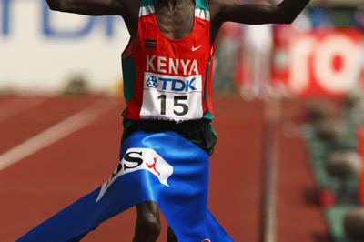 Luke Kibet of Kenya celebrates winning the Men Marathon's gold medal in Osaka (Getty Images)